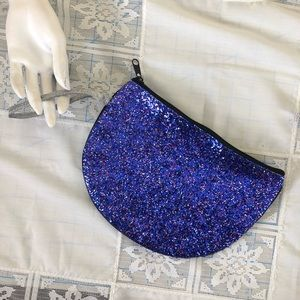 Handbags - Half round blue w red/silver glitter pouch [used]